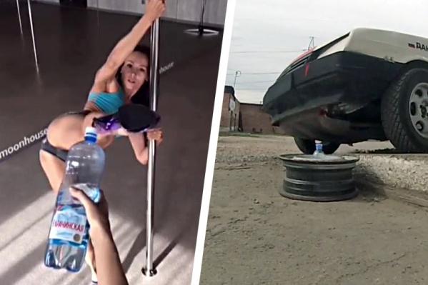 Большинство участников флешмоба предпочитают открывать бутылки ударом ноги, а новосибирский спортсмен решил сделать это колёсами