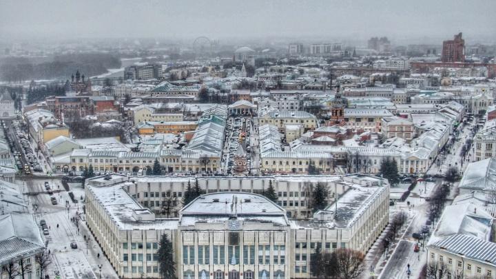 Блогер сфотографировал заснеженный Ярославль с высоты птичьего полёта: 5 зимних фото