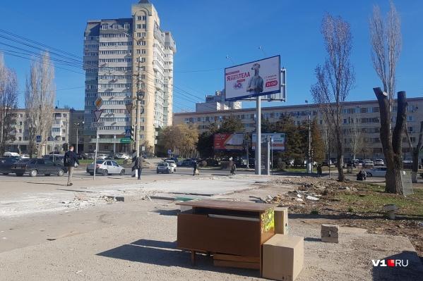 Новый вид торговых павильонов в центре Волгограда