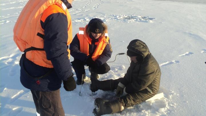Люди в оранжевых жилетах спугнули сотню рыбаков со льда Бердского залива