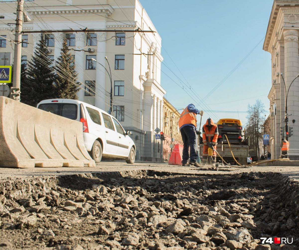 Начало ремонта дорог на 13 улицах в Челябинске затягивается ещё на две недели