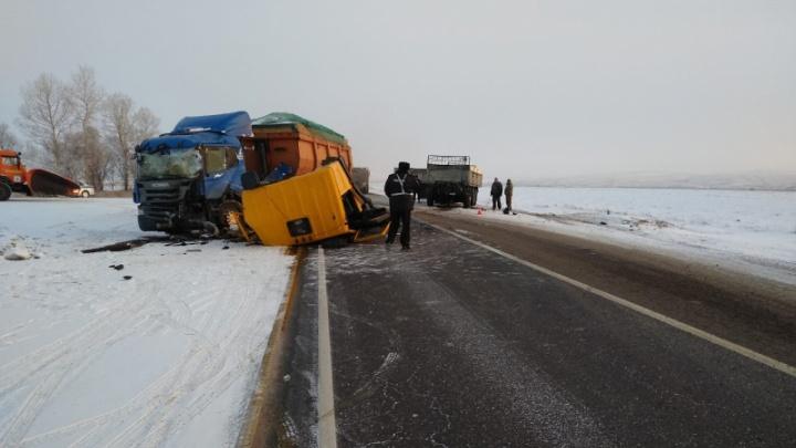 Три грузовика столкнулись в страшной аварии на трассе
