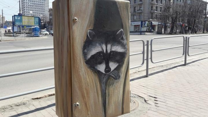 В Челябинске возле «Детского мира» появился енот