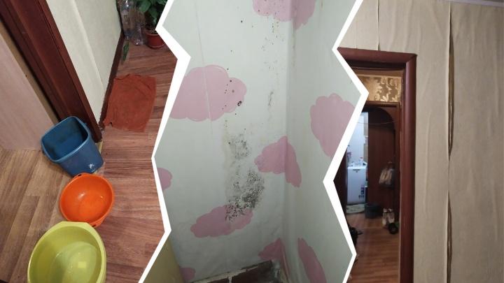 «Больше всего боюсь, что проводку замкнет»: посреди зимы в квартиру уфимки хлынула вода с потолка