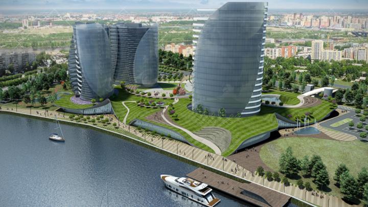 На участке Заречного парка могут построить четыре башни.Никто не признается, чей это проект