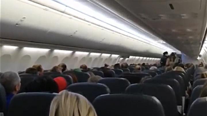 Появилось видео, как из самолета в Самаре выводят пассажирку-хулиганку