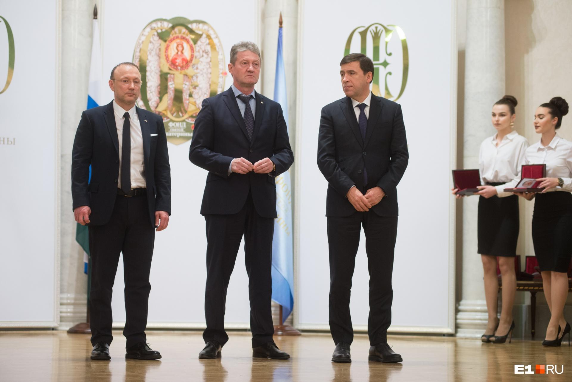 Слева направо: глава РМК Игорь Алтушкин, гендиректор УГМК Андрей Козицын, губернатор Свердловской области Евгений Куйвашев