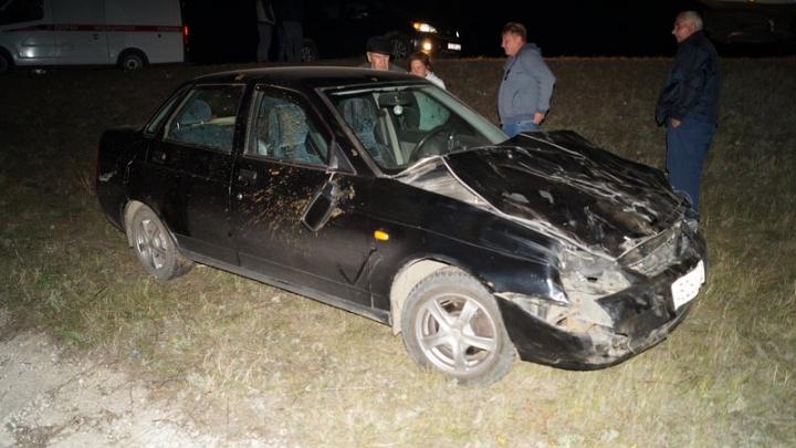 Под Сызранью водитель «Приоры» на скорости сбил двух телят и вылетел в кювет
