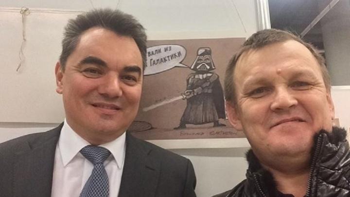Ирек Ялалов сфотографировался возле своей карикатуры