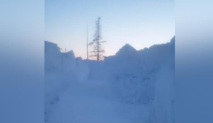 Норильчане засняли дорогу домой сквозь 2-метровый сугроб