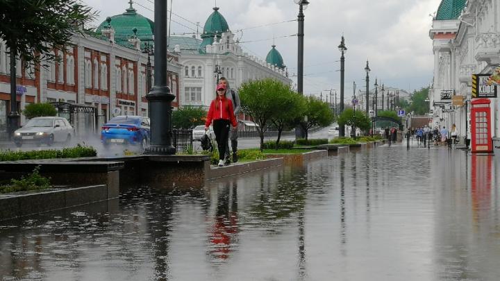 В Омске после пятиминутного ливня затопило Любинский проспект