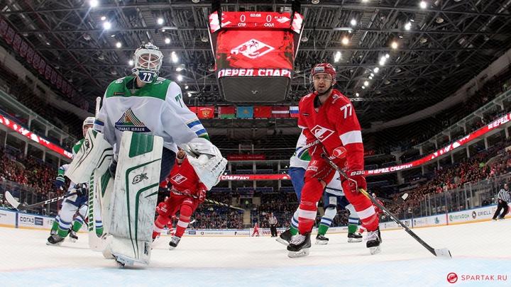 «Спартак» уложил на лопатки «Салавата»: уфимские хоккеисты проиграли москвичам по буллитам