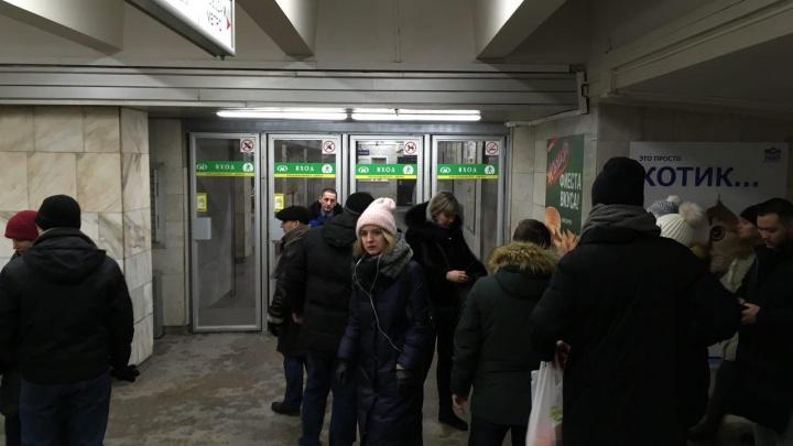 На станции метро «Площадь Ленина»встали поезда: на рельсы упала женщина