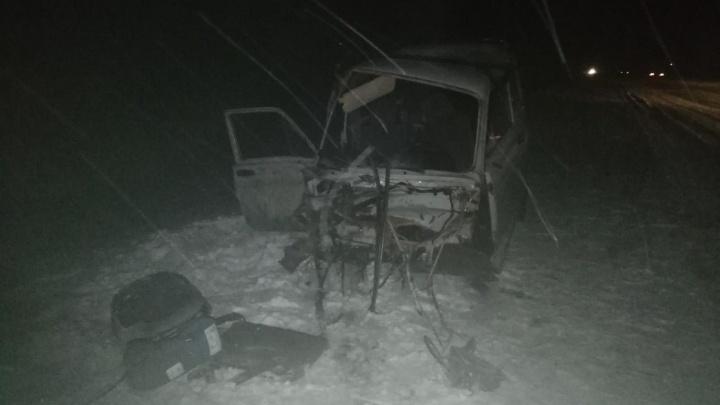 Снесло полмашины: в Самарской области на заснеженной дороге «Ниву» отбросило на грузовик
