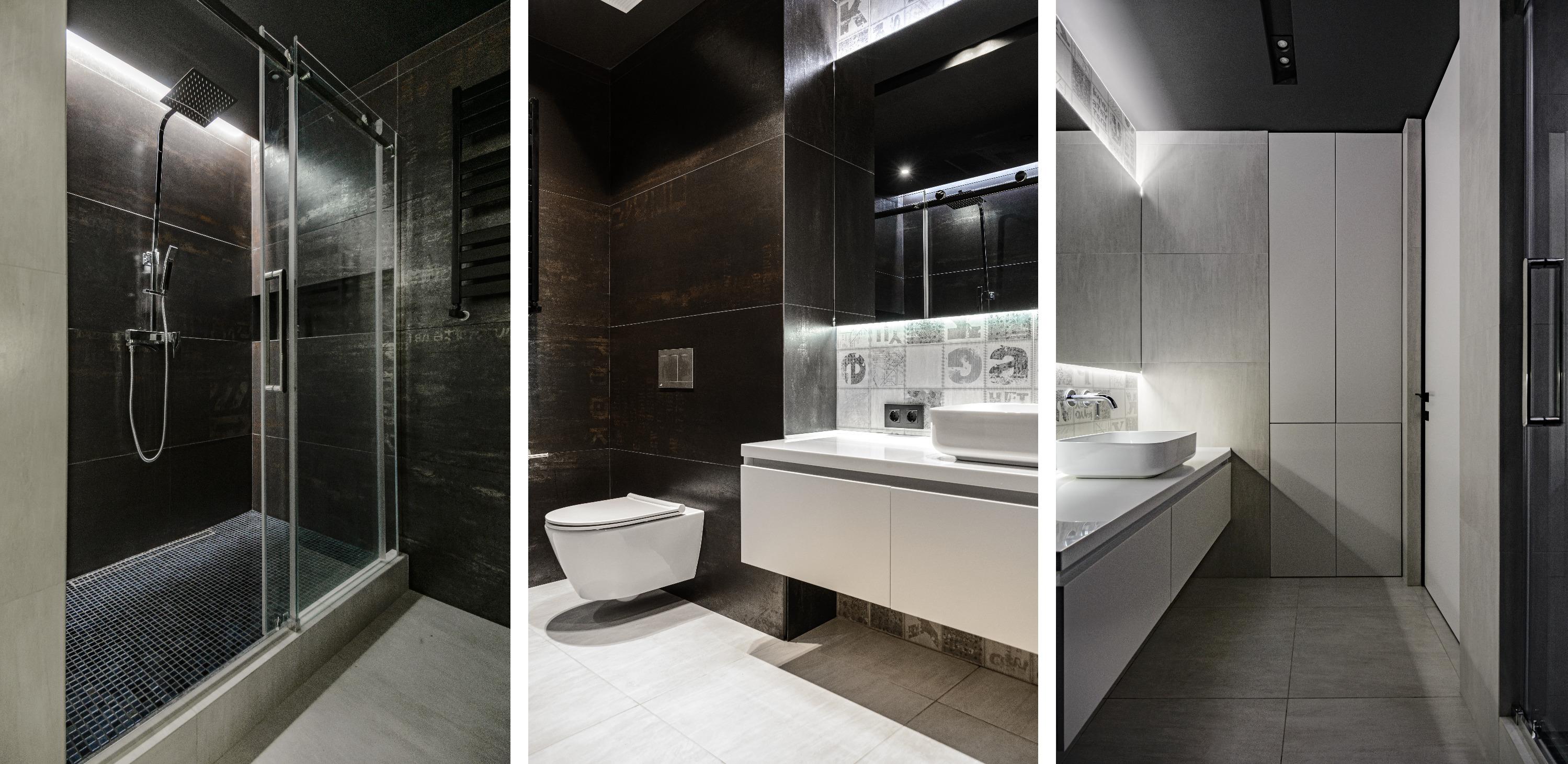Плитку для ванной подобрали под металл, а часть плиток будто «забомблены» стрит-художниками