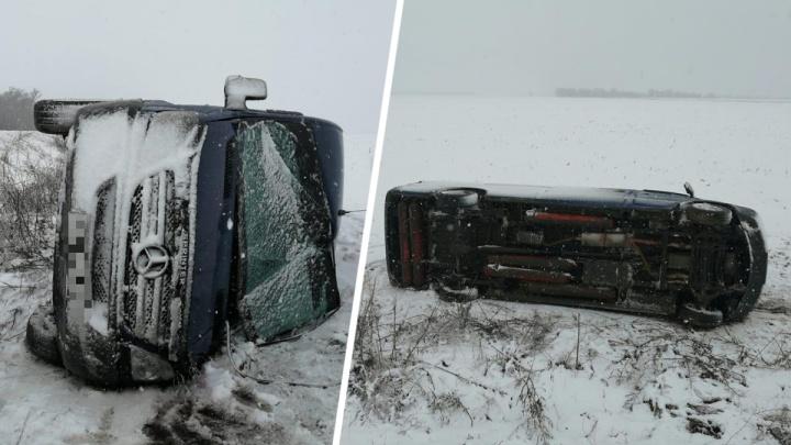 В Ростовской области автобус вылетел в кювет из-за снежной бури. Есть пострадавшие