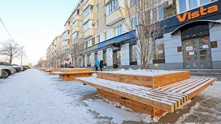 На проспекте Октября в Уфе появятся 46 скамеек с вазоном для боярышника