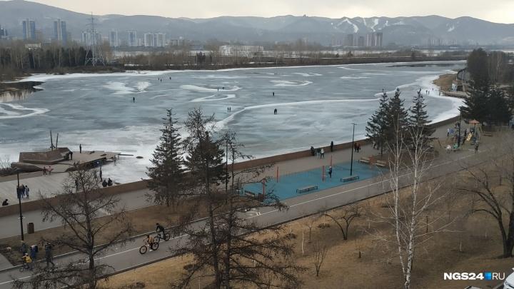 Двое красноярцев провалились под лед, гуляя на протоке на Дубровинского