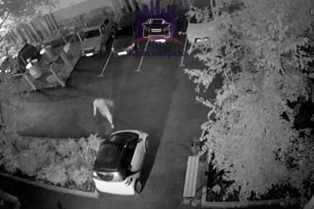 Молодой человек пинает машину в центре