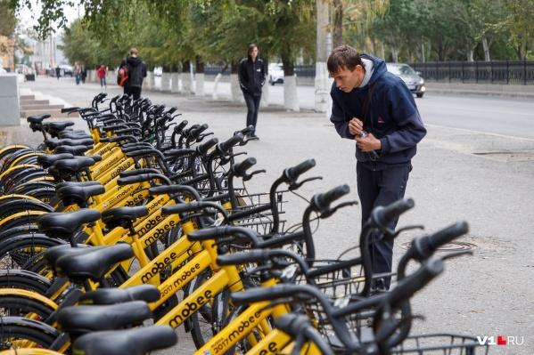 Желтые велосипеды на улицах города еще не стали привычными для волгоградцев