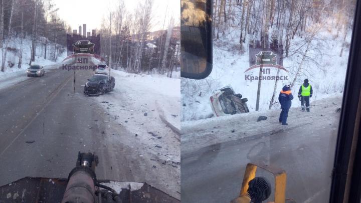 «Спорят по вине»: по пути на ГЭС из-за встречного авто седан улетел в кювет