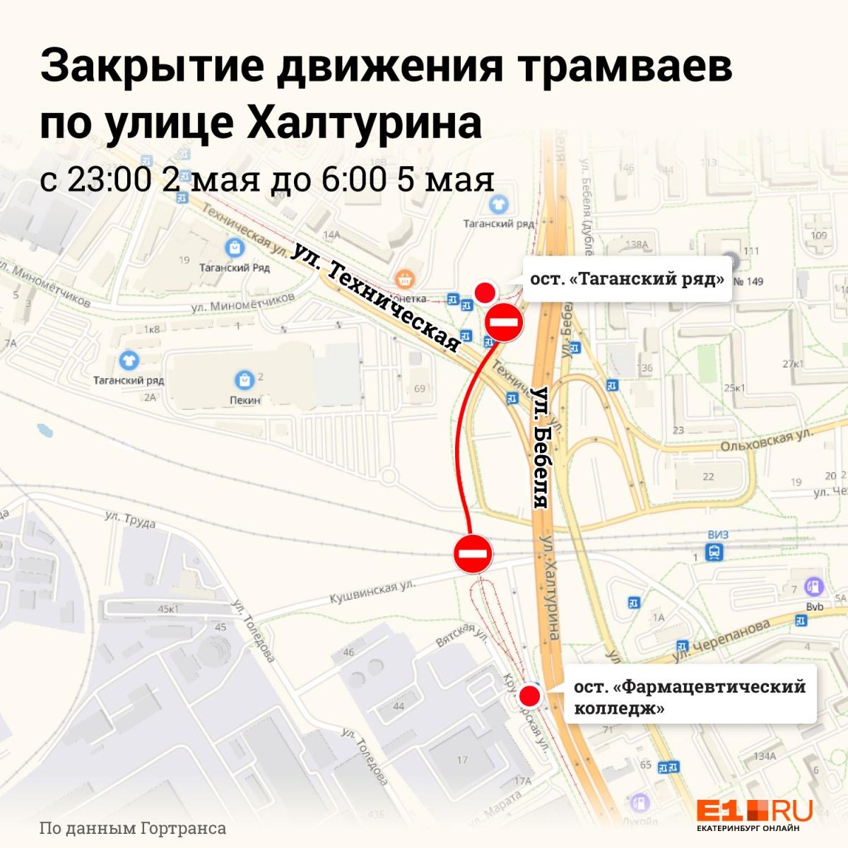 Из-за ремонта путей возле «Таганского ряда» трамваи перестанут ездить на Сортировку из центра