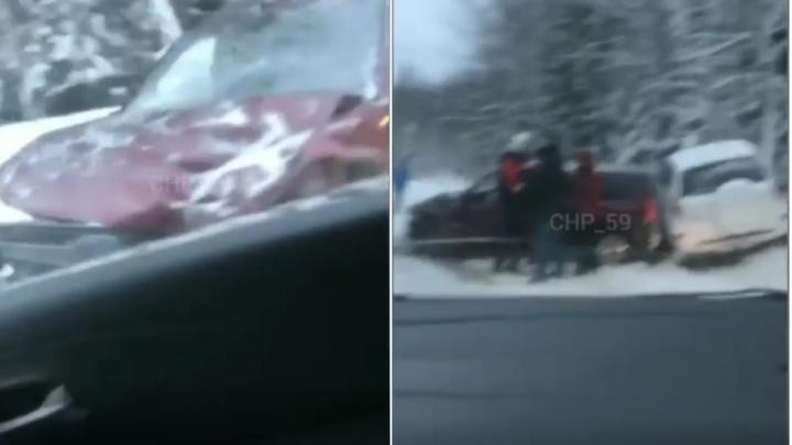 На трассе Пермь — Березники столкнулись три автомобиля
