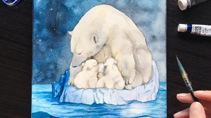 Художница из Новосибирска нарисовала милые открытки с белыми медвежатами из зоопарка