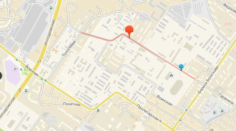 Красным отмечена улица Василия Старощука, по которой теперь можно ездить с улицы Бориса Богаткова на Тополёвую