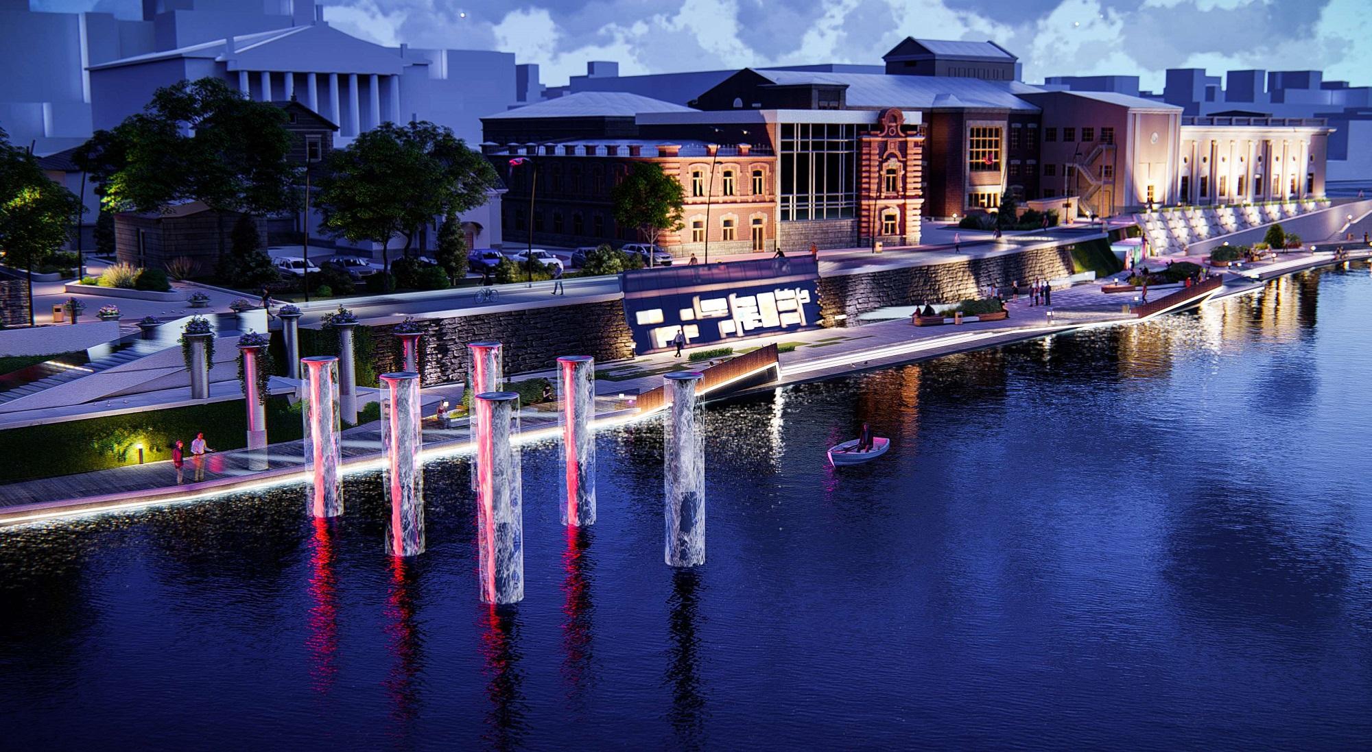 Один из фонтанов будет располагаться на воде — это участок со входом с улицы Цвиллинга