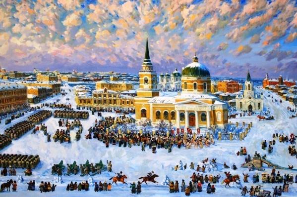 На картине вокруг Никольского собора устроили праздничное шествие