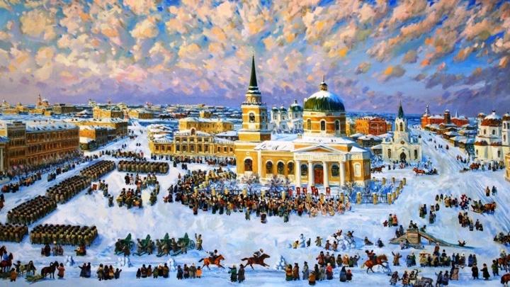 Для здания омского аэропорта за 300 тысяч заказали большую картину с Никольским собором