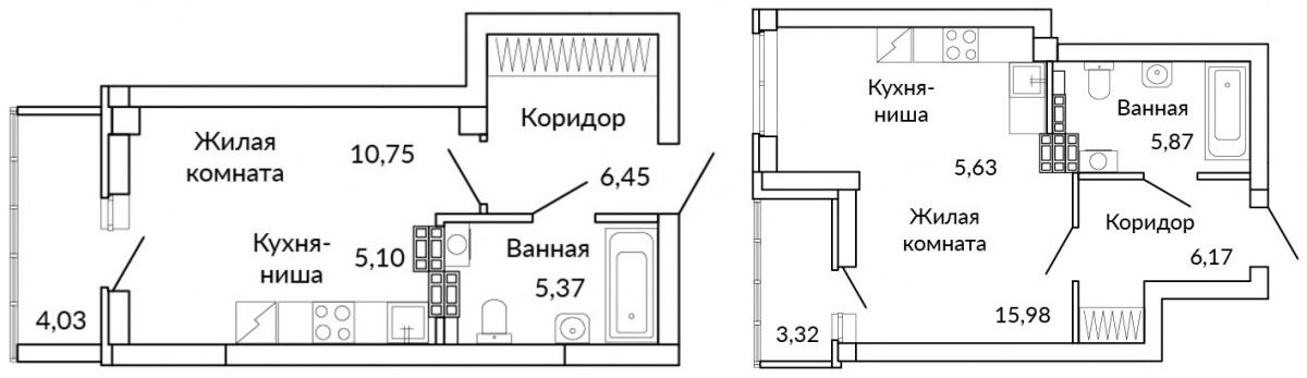 Планировки квартир-студий в «аметистовом» доме