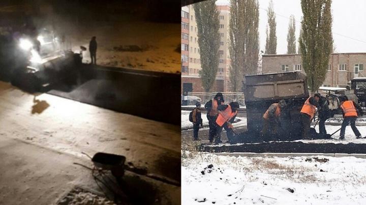 В Башкирии асфальт укладывали прямо на снег