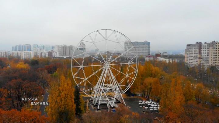 Собрали весь каркас: в парке Гагарина вновь стартовали работы по возведению колеса обозрения