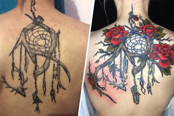Омский мастер Юлия Белоусова превратила непривлекательный ловец снов в достойную восхищения татуировку