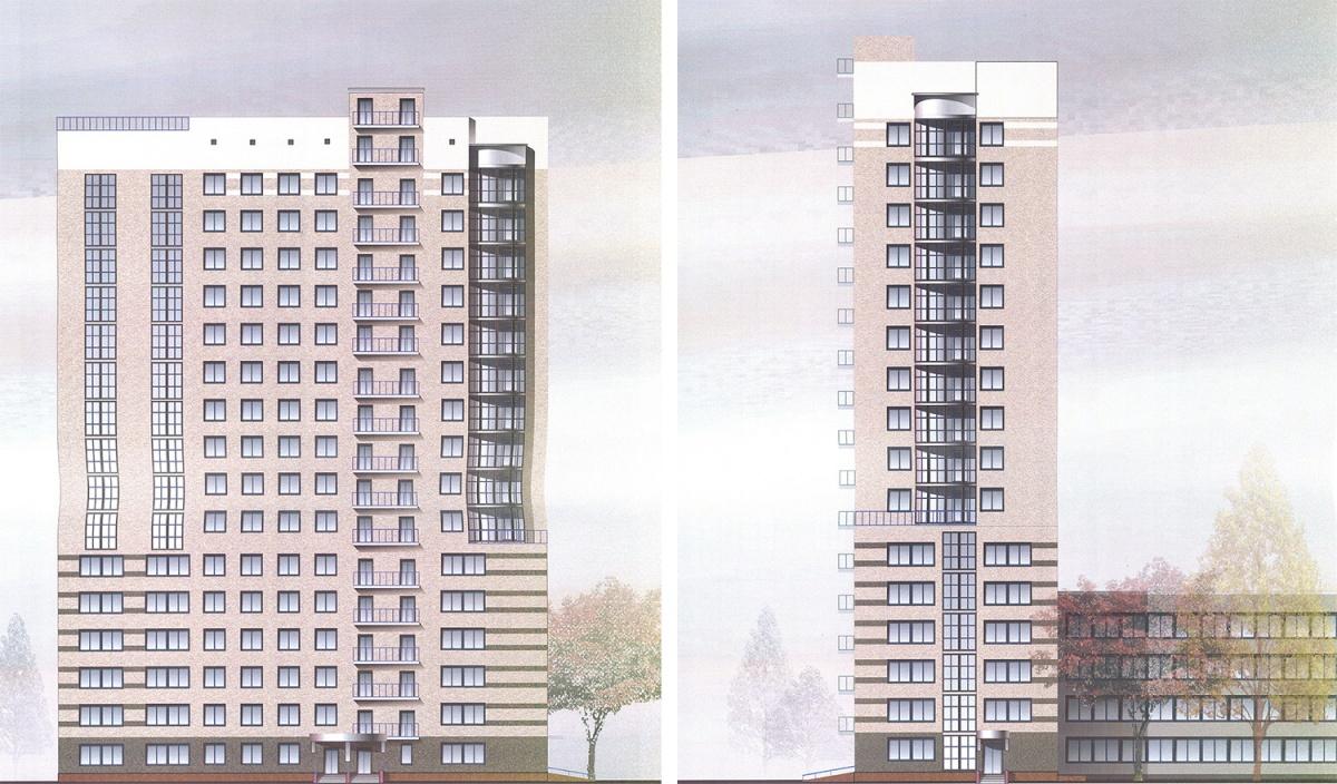 Так должно выглядеть здание по проекту: слева вид на фасад со стороны улицы Ольги Жилиной, справа — с Фрунзе