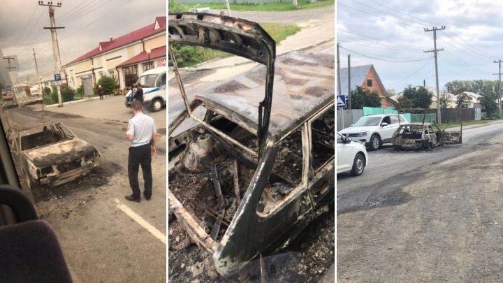 В Березняках прямо на дороге сгорела легковушка