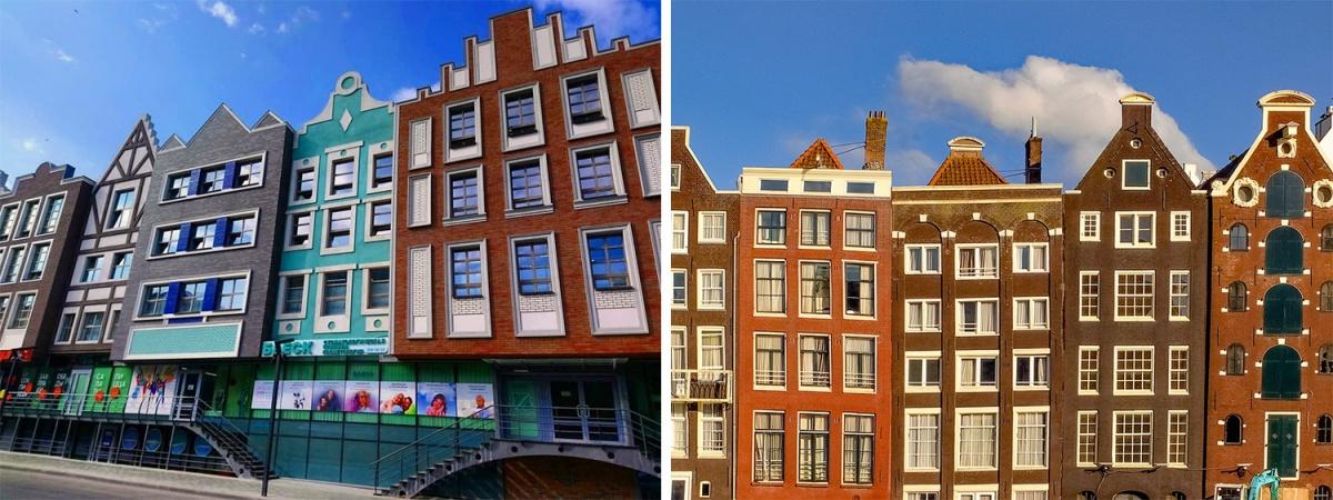 Слева — Новосибирск Справа — Амстердам