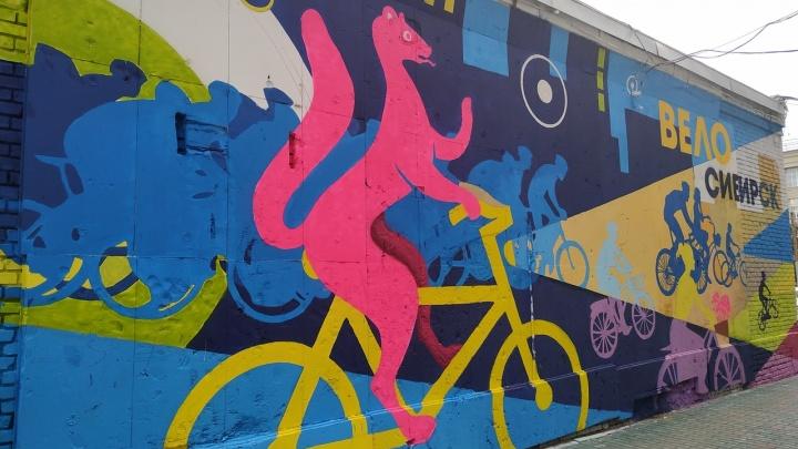 «Я решила посадить соболя на велосипед»: за гостиницей «Центральная» появились новые граффити