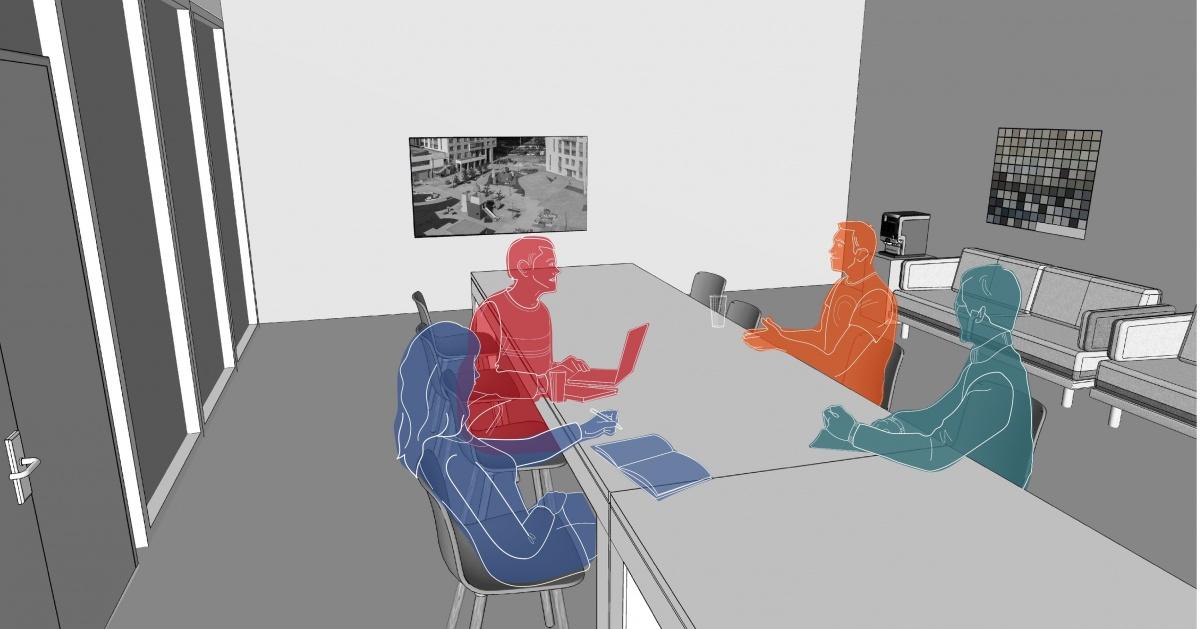 Впереговорной комнате можно приватно обсудить проект сзаказчиком или коллегами