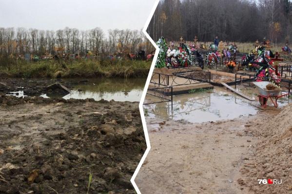 В Ярославле городские кладбища утопают в грязи