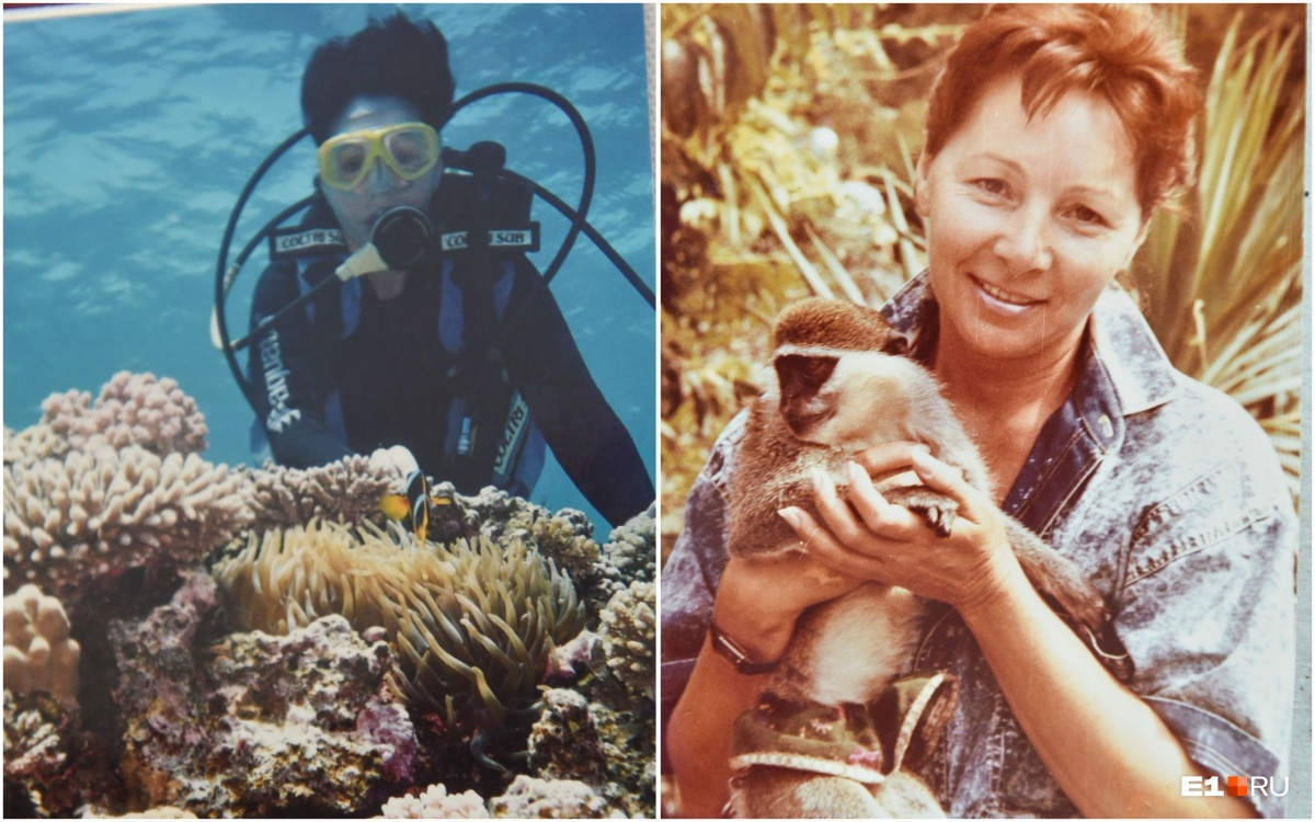 На отдыхе она ныряла с аквалангом и фотографировалась с обезьянкой