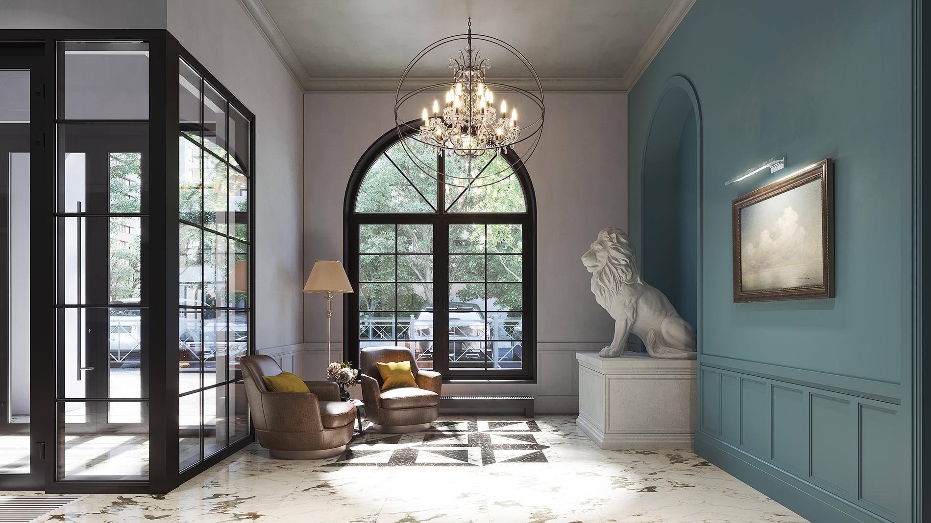 Главное украшение парадного вестибюля — классическая скульптура льва