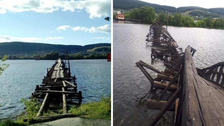 В Башкирии развалился самый длинный в стране деревянный мост