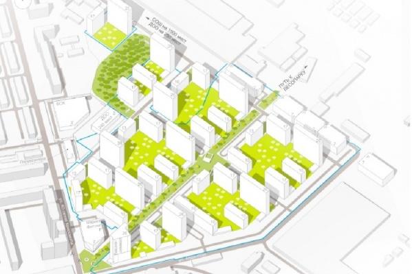 Примерное расположение домов в будущем квартале