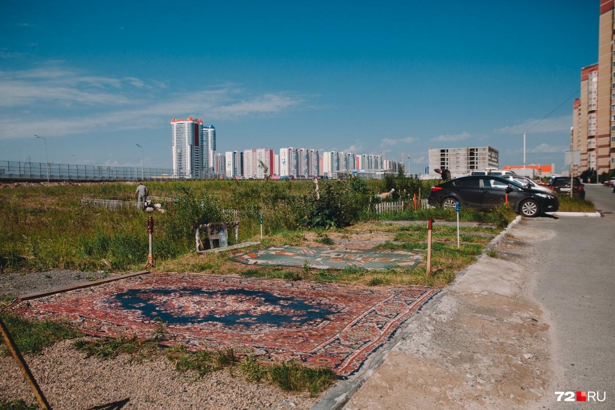 Тюменцы обозначают парковочные места с помощью ковров