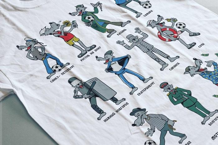 На футболке все города — организаторы ЧМ изображены в виде волков