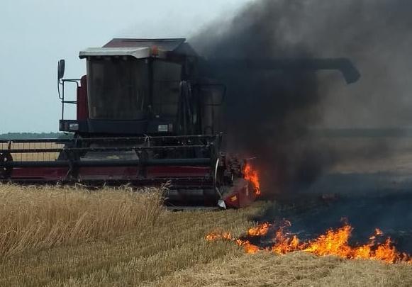 Огонь перекинулся на поле: под Самарой сгорел комбайн