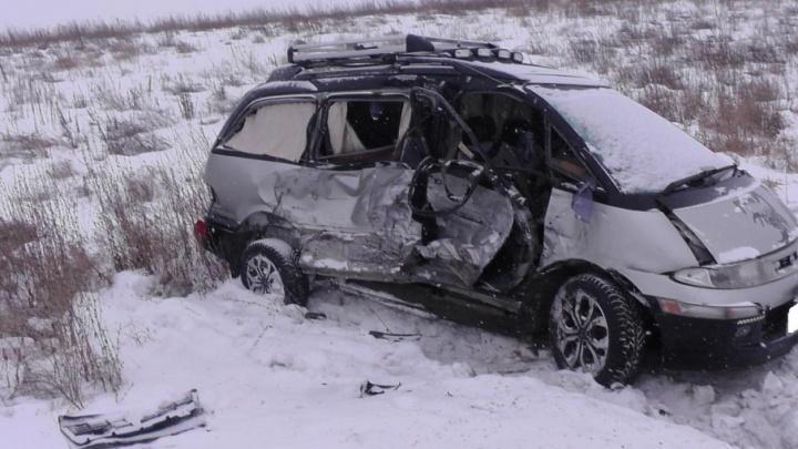 В условиях снегопада: в Катайском районе легковушка на встречке въехала в грузовик